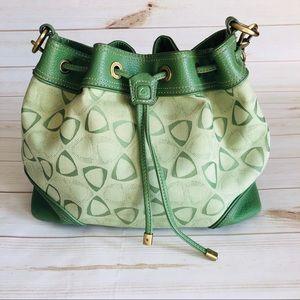 Liz Claiborne green geometric cinch bucket bag